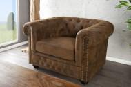 Chesterfield fauteuil 110cm antiek bruin met knoopsluiting en veerkern