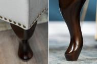Chesterfield hocker-voetenbank 80cm fluweel stof zilvergrijs gecapitonneerd