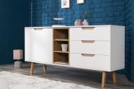Design dressoir NORDIC 150cm klassiek mat wit met echte eiken