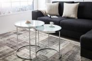 Design salontafel ART DECO II 50cm set van 2 chromen opaal witte bijzettafels