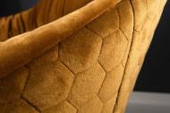 Draaifauteuil BIG DUTCH mosterdgeel fluweel met armleuningen in retrostijl