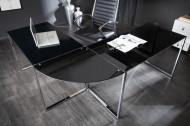Exclusief design hoekbureau BIG DEAL 180 cm glas zwart