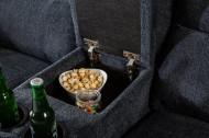 Exclusieve 2-zits bioscoopbank stof donkergrijs met bekerhouder