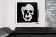 Exclusieve afbeelding MIRROR SKULL 100x100cm Diamond Skull XXL LEVERBAAR IN AUGUSTUS