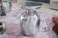 Handgemaakte bijzettafel 36 cm zilver hamerslag design