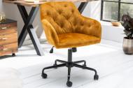 In hoogte verstelbare bureaustoel DUTCH COMFORT mosterdgeel fluweel met doorgestikte stiksels