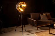 Industriële vloerlamp BIG STUDIO 160 cm zwart goud kantelbare stoffen kap