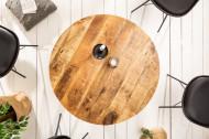 Massieve eettafel IRON CRAFT 80 cm rond natuurlijk mangohout