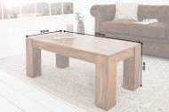Massieve salontafel MAKASSAR 100 cm Sheesham unieke nerf