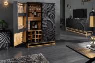 Massieve salontafel SCORPION 50 cm zwart mangohouten bijzettafel met 3D-houtsnijwerk