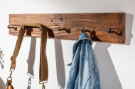 Massieve wandkapstok 90 cm natuurlijk gerecycled massief hout