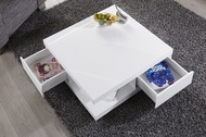 Moderne Design Salontafel Hoogglans Wit met 2 Lades model-function