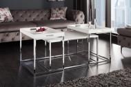 Moderne design salontafel set van 3 ELEMENTS 75 cm wit chromen dienbladtafel