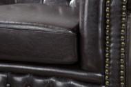 Nobele Chesterfield 3-zits bank coffee bruine knoop stiksels 210cm