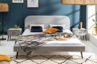 Retro nachtkastje FAMOUS 45 cm zilvergrijs fluweel met lade