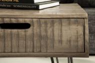 Retro salontafel SCORPION 100 cm grijs mangohouten haarspeldpoten met lades