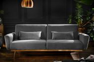 Retro slaapbank BELLEZZA 208 cm grijs fluweel stof 3-zits bank inclusief kussens