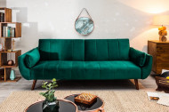 Retro slaapbank Fluweelstof smaragdgroen 220 cm 3-zitsbank met bedfunctie