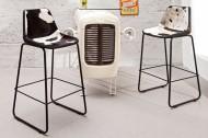 Set van 2 Design bar chair TORO hoge kwaliteit rundleer zwart wit