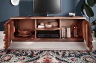 Tv Meubel massiev sheeshamhout RELIEF 150 cm met een uitgewerkte voorkant