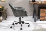 Bureaustoel met armleuning fluweel stof groen draaistoel