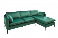 Design hoekbank FAMOUS 260 cm smaragdgroen fluweel stof.zitting binnenvering.incl kussens