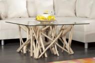 Design teakhouten salontafel Vierkant met Glazenblad 80 x 80 cm