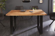 Eettafel massief Sheeshamhout 140 cm industrieel design
