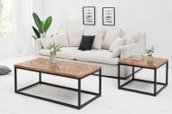 Elegante bijzettafel INFINITY HOME 60 cm natuurlijk mangohout met visgraatpatroon