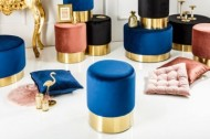 Elegante Ovale MODERNE BAROK kruk  bij de salontafel  in  kleur blauw/goud