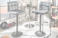 Hoogte verstelbare Barstoel vintage grijs met voetensteun- set van 2