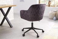 In hoogte verstelbare bureaustoel donkergrijs fluweel met sierstiksels