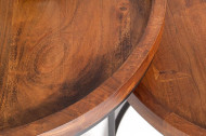 Industriële set van 2 bijzettafels ELEMENTS 55 cm acacia massief hout steen afwerking