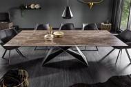 Moderne keramische eettafel PROMETHEUS 180-220-260cm, roest-look uitschuifbaar