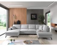 Moderne Lounge Bank , Moderne Panoramische Salon Stof Licht Grijs 348 cm