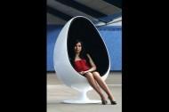 Relaxstoel Model: Space Egg - Wit / Zwart