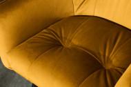 Retro barkruk LOFT 100 cm fluweel mosterdgele barkruk met armleuningen