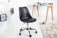 Retro design klassieker bureaustoel SCANDINAVIA  zwart met een hoge kwaliteit verchroomd stoelframe
