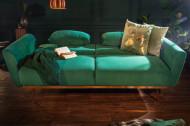Retro slaapbank BELLEZZA 208 cm smaragdgroen fluwelen 3-zits slaapbank inclusief kussens