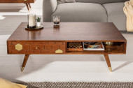Solide salontafel MYSTIC LIVING 117 cm acacia bruin goud retro design