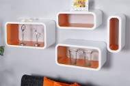 Wandplank Model: Club Cube 4-er Set - wit/oranje - 18050