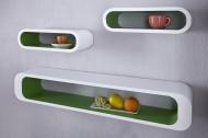 Wandplank Model: Cube 3 Set - Wit / Groen