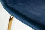 Design barstoel SCANDINAVIA donkerblauw fluweel stof met voetensteun