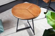 Design Ronde bijzettafel zoals Salontafel 45cm eiken zwart metalen frame