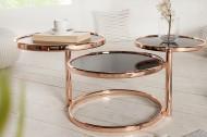 Design salontafel ART DECO III 155 cm met 3 niveaus koper zwarte salontafel