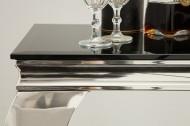 Elegante console tafel MODERN BAROK 140 cm zwart roestvrij staal opaal glazen tafelblad