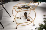 Elegante serveerwagen goud met wielen op twee niveaus 71 cm