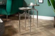 Elegante set van 2 bijzettafels ABSTRACT 59 cm zilver
