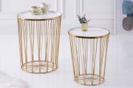 Elegante set van 2 salontafels STORAGE 48 cm witgouden bijzettafel met opbergmand