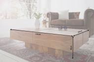 Exclusieve massiev salontafel Sheeshamhout BOLT II 110 cm Stone Finish